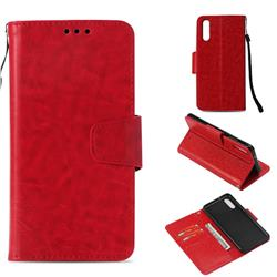 Retro Phantom Smooth PU Leather Wallet Holster Case for Huawei P20 - Red