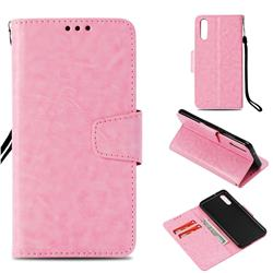 Retro Phantom Smooth PU Leather Wallet Holster Case for Huawei P20 - Pink
