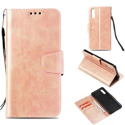 Retro Phantom Smooth PU Leather Wallet Holster Case for Huawei P20 - Rose Gold