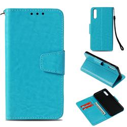 Retro Phantom Smooth PU Leather Wallet Holster Case for Huawei P20 - Sky Blue