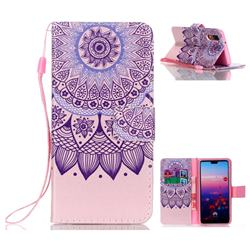 Purple Sunflower Leather Wallet Phone Case for Huawei P20