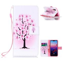 Peach Flower Leather Wallet Phone Case for Huawei P20