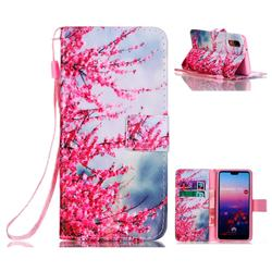 Plum Flower Leather Wallet Phone Case for Huawei P20
