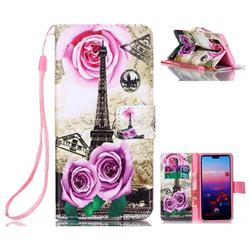 Rose Eiffel Tower Leather Wallet Phone Case for Huawei P20