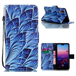 Blue Feather Leather Wallet Phone Case for Huawei P20