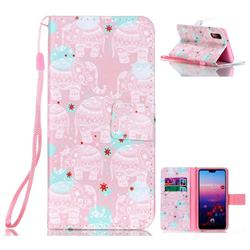 Pink Elephant Leather Wallet Phone Case for Huawei P20