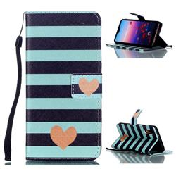 Blue Stripe Heart Leather Wallet Phone Case for Huawei P20