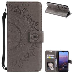 Intricate Embossing Datura Leather Wallet Case for Huawei P20 - Gray