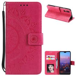 Intricate Embossing Datura Leather Wallet Case for Huawei P20 - Rose Red