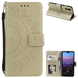 Intricate Embossing Datura Leather Wallet Case for Huawei P20 - Golden