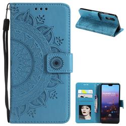 Intricate Embossing Datura Leather Wallet Case for Huawei P20 - Blue