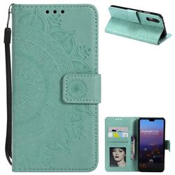 Intricate Embossing Datura Leather Wallet Case for Huawei P20 - Mint Green