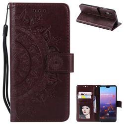 Intricate Embossing Datura Leather Wallet Case for Huawei P20 - Brown