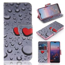 Heart Raindrop PU Leather Wallet Case for Huawei P20
