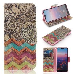 Wave Flower PU Leather Wallet Case for Huawei P20