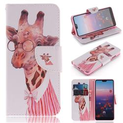 Pink Giraffe PU Leather Wallet Case for Huawei P20