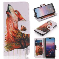 Color Wolf PU Leather Wallet Case for Huawei P20