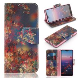 Colored Flowers PU Leather Wallet Case for Huawei P20