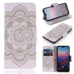White Flowers PU Leather Wallet Case for Huawei P20