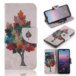 Colored Tree PU Leather Wallet Case for Huawei P20