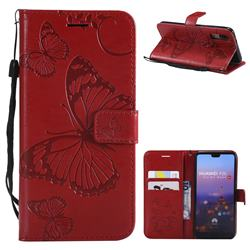 Embossing 3D Butterfly Leather Wallet Case for Huawei P20 - Red