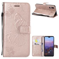 Embossing 3D Butterfly Leather Wallet Case for Huawei P20 - Rose Gold