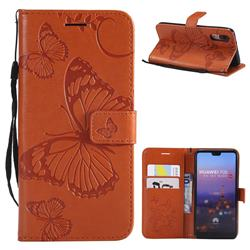 Embossing 3D Butterfly Leather Wallet Case for Huawei P20 - Orange