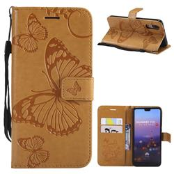Embossing 3D Butterfly Leather Wallet Case for Huawei P20 - Yellow