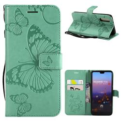 Embossing 3D Butterfly Leather Wallet Case for Huawei P20 - Green