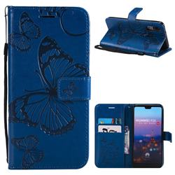 Embossing 3D Butterfly Leather Wallet Case for Huawei P20 - Blue