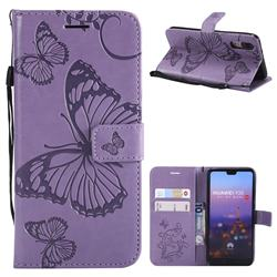 Embossing 3D Butterfly Leather Wallet Case for Huawei P20 - Purple