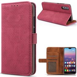 Luxury Vintage Mesh Monternet Leather Wallet Case for Huawei P20 - Rose