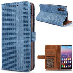 Luxury Vintage Mesh Monternet Leather Wallet Case for Huawei P20 - Blue