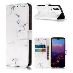 Soft White Marble PU Leather Wallet Case for Huawei P20