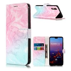 Pink Green Marble PU Leather Wallet Case for Huawei P20