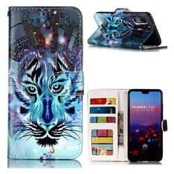 Ice Wolf 3D Relief Oil PU Leather Wallet Case for Huawei P20