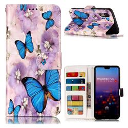 Purple Flowers Butterfly 3D Relief Oil PU Leather Wallet Case for Huawei P20
