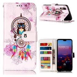 Wind Chimes Owl 3D Relief Oil PU Leather Wallet Case for Huawei P20