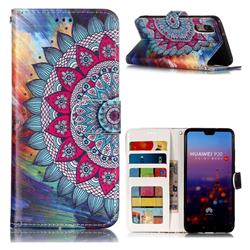 Mandala Flower 3D Relief Oil PU Leather Wallet Case for Huawei P20