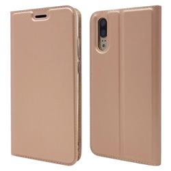 Ultra Slim Card Magnetic Automatic Suction Leather Wallet Case for Huawei P20 - Rose Gold