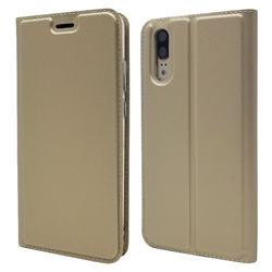 Ultra Slim Card Magnetic Automatic Suction Leather Wallet Case for Huawei P20 - Champagne