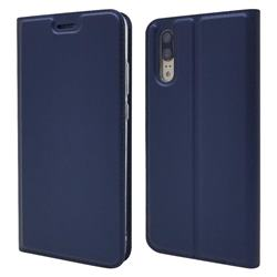Ultra Slim Card Magnetic Automatic Suction Leather Wallet Case for Huawei P20 - Royal Blue