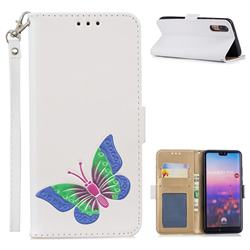 Imprint Embossing Butterfly Leather Wallet Case for Huawei P20 - White