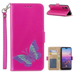 Imprint Embossing Butterfly Leather Wallet Case for Huawei P20 - Rose Red