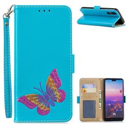Imprint Embossing Butterfly Leather Wallet Case for Huawei P20 - Sky Blue