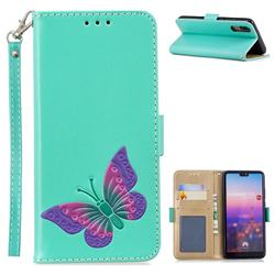Imprint Embossing Butterfly Leather Wallet Case for Huawei P20 - Mint Green