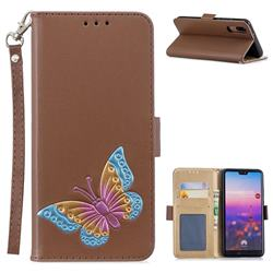 Imprint Embossing Butterfly Leather Wallet Case for Huawei P20 - Brown