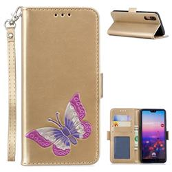 Imprint Embossing Butterfly Leather Wallet Case for Huawei P20 - Golden