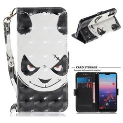 Angry Bear 3D Painted Leather Wallet Phone Case for Huawei P20