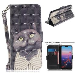 Cat Embrace 3D Painted Leather Wallet Phone Case for Huawei P20
